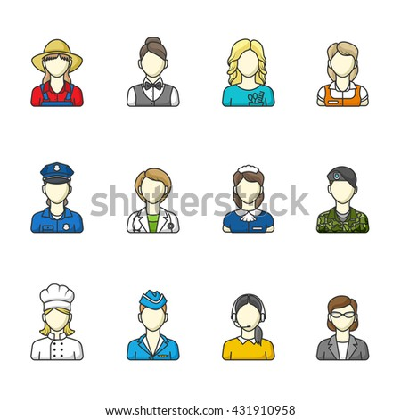 Women icons. Set of different female professions. Vector illustration. Color outlined icon collection. - stock vector