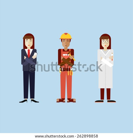 Women in different professions with working tools. Biologist asian, construction worker dark skin, business woman. Set of vector illustration in modern flat style.  - stock vector