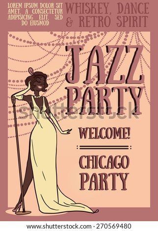women in retro style singing jazz music, Chicago party poster, vector illustration - stock vector
