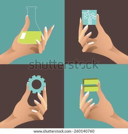 Women in Science, Tech, Engineering and Math. STEM. Female hands holding icons. EPS10 vector Royalty free illustration for advertising, promotion, poster, flier, blog, article, social media, marketing - stock vector