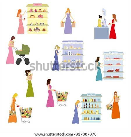 Women in the supermarket - on white background - vector illustration, people in the supermarket buying grocery products.Graphic Design Editable for your design. - stock vector
