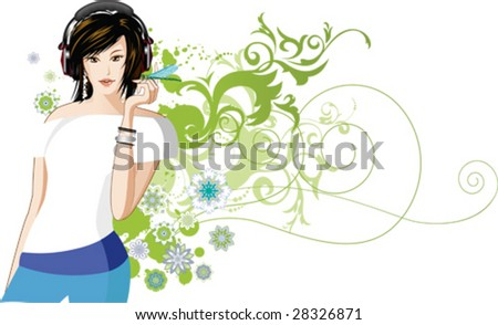 Women is listening to music. All elements and textures are individual objects. Vector illustration scale to any size. - stock vector