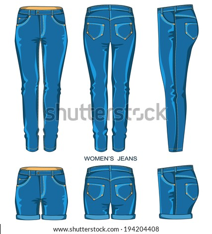 Women jeans pants and shorts isolated for design.Vector fashion clothes - stock vector
