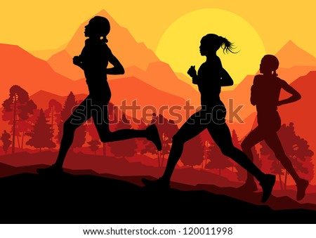 Women marathon runners in wild forest nature mountain landscape background illustration vector - stock vector