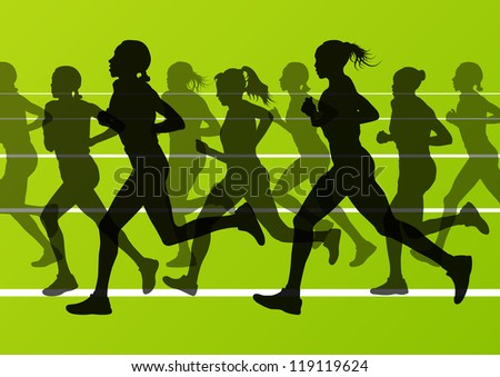 Women marathon runners silhouettes in sport stadium landscape background illustration vector - stock vector