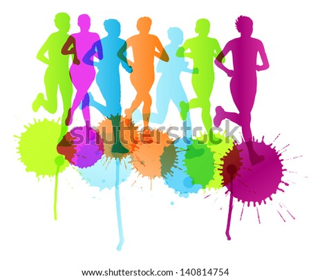 Women marathon winner finish vector abstract color splash background and group of runners - stock vector