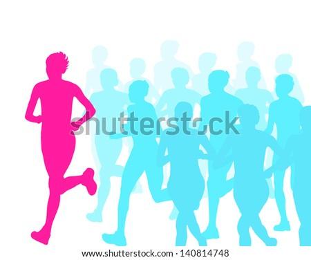 Women marathon winner finish vector background and group of runners - stock vector