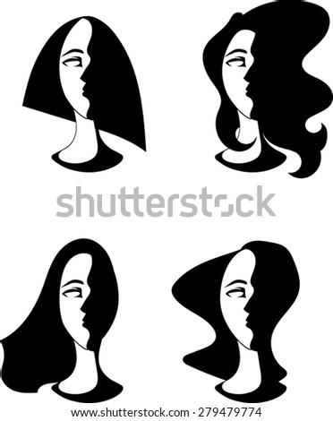 Women Portrait Silhouettes - Vector Art  - stock vector