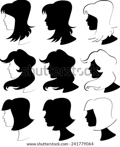 Women Profiles Silhouettes - Vector Image  - stock vector