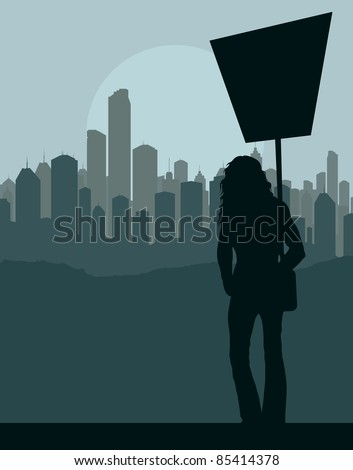 Women protest in front of city background vector - stock vector