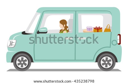 Women riding the car, Side view - Isolated - stock vector