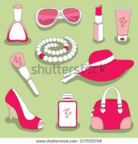 women's and girls's glamour red-pink stuff set on green background - stock vector