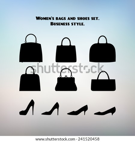 Women's bags and shoes set. Business style. - stock vector