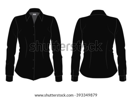 Womens Black Shirt Long Sleeves Template Stock Vector 393349879 ...