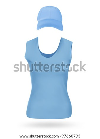 Women's blank sport t-shirt and cap template set.