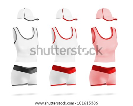 Womens Blank Sport T Shirt Shorts And Hat Template