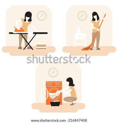 women's chores - stock vector