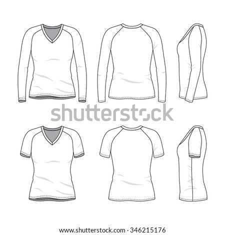 Womenu0027s Clothing Set. Front, Back And Side Views Of Blank V Neck T