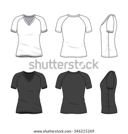 Womens clothing set white black colors stock vector for Womens black v neck t shirt