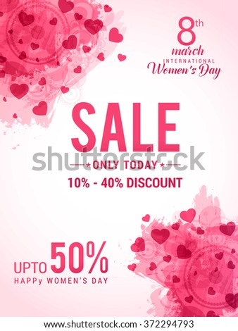 Women's Day celebration Poster, Banner or Flyer design of Sale with different discount offer.