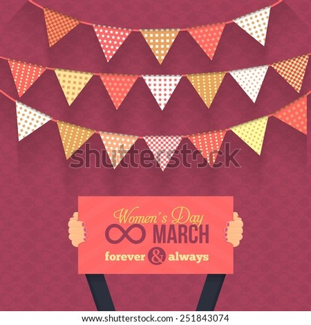 Women's Day 8 March Card, Website Banner Card Hold Women Hands - Activity, Events, Celebration, Announcement Vector Background - stock vector