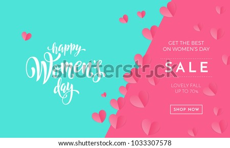 Women's day sale poster or banner for Mother's day holiday shop seasonal discount offer. Vector International Women's Day on 8 March design template of pink hearts pattern on green and pink background