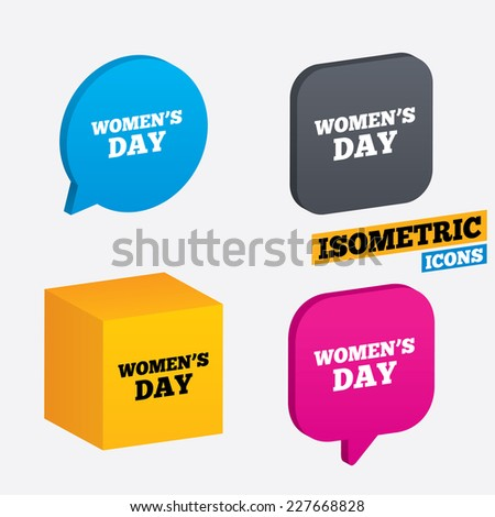 Women's Day sign icon. Holiday symbol. Isometric speech bubbles and cube. Rotated icons with edges. Vector - stock vector