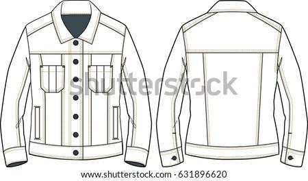 Womens Denim Jacket Sketch Detail Technical Stock Vector ...
