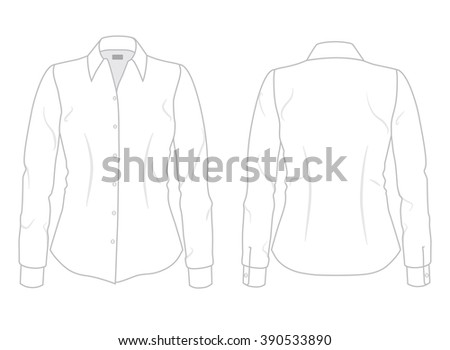 Women's dress shirt with long sleeves template, front and back view