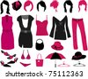 Women's fashion - clothes, hairstyles and accessories - stock vector