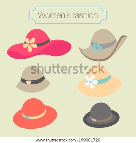 Women's fashion collection of hats - vector illustration - stock vector