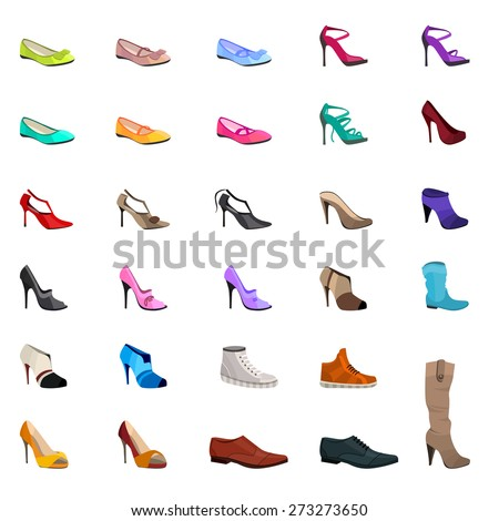 Women s fashion collection of shoes. Set with different shoes isolated on white. - stock vector