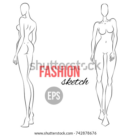 Womens Figure Sketch Different Poses Template For Drawing Designers Of Clothes Vector