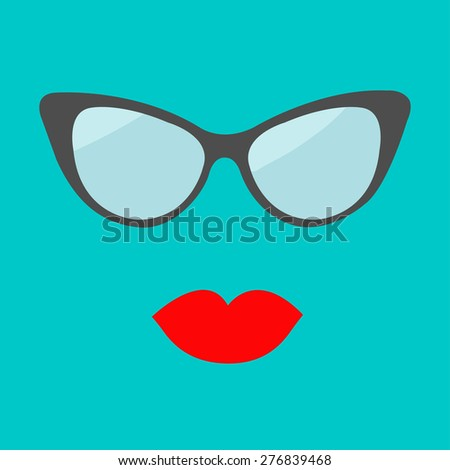 Women's glasses and red lips set. Fashion background Flat design. Vector illustration