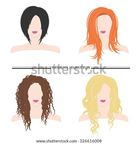 Women's hairstyles. Types of female hairstyles. Vector illustration of female hair styles for banners, posters, Web use. The blonde, redhead, brunette, brown hair. - stock vector