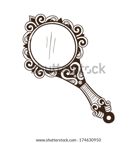 hand mirror sketch. Women\u0027s Hand Mirror. Sketch Isolated On White . Eps 10 Vector Illustration Mirror A