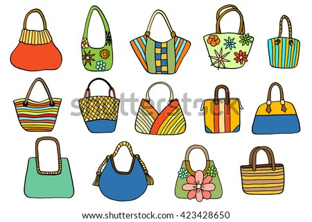 women's handbags. Hand drawn vector isolated.