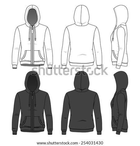 Women's hoodie with zipper in front, back and side views. Blank clothing templates in white and black colors. Fashion set. - stock vector