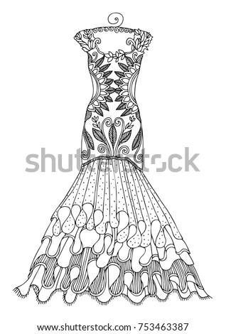 Womens Lace Dress On A Hanger Hand Drawn Illustration For Coloring Page Poster Or