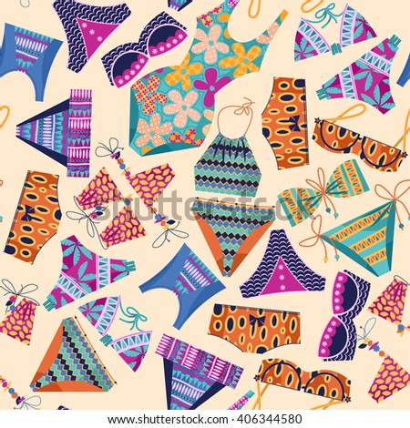 Women's multi-colored swimsuits. Bathing suit various models. Seamless background pattern. Vector illustration - stock vector