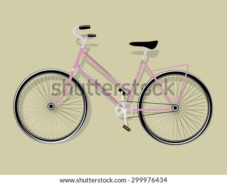 Women's pink detailed bicycle isolated, vector illustration - stock vector