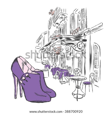 Women's shoes on a background of a city street . Shoes and cafes . Vector illustration.  - stock vector