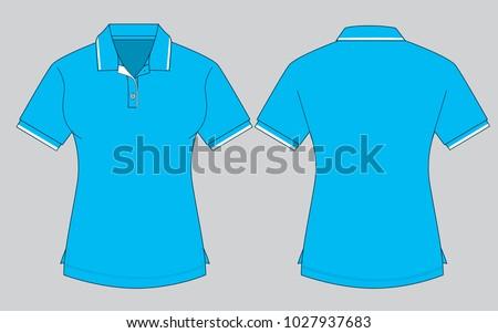 Womens Sky Blue Polo Shirt Template Stock Vector HD (Royalty Free ...