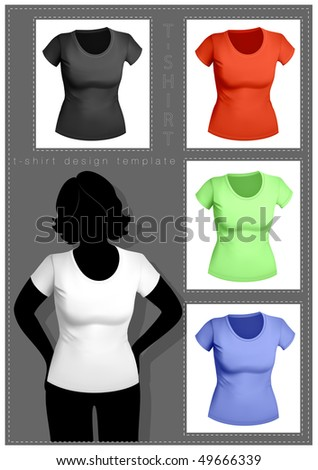 Women's t-shirt template with human body silhouette. White, black and color.