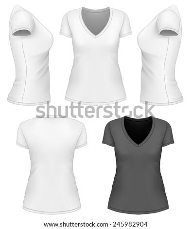 Women's v-neck t-shirt design template. Vector illustration. - stock vector