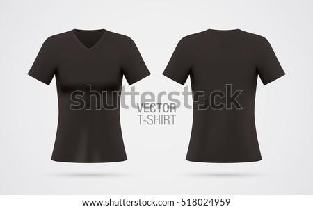 Womens Vneck Tshirt Vector Template Short Stock Vector (2018 ...
