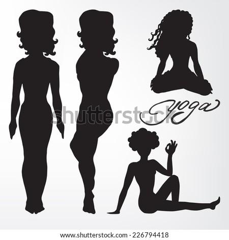 Women's yoga. silhouette. asanas. - stock vector