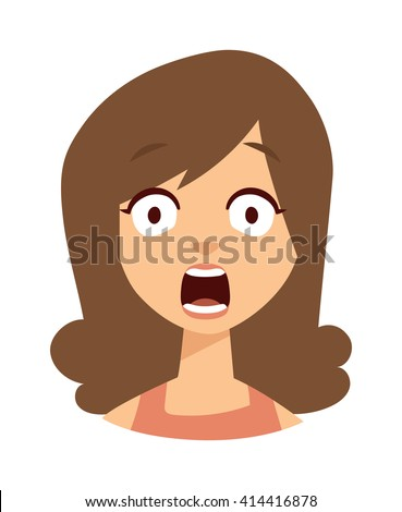 Women scary face open mouth vector character illustration. Woman scary face open mouth and women scary face expression girl. Fear portrait women scary face emoticon crazy horror. Shock scared people. - stock vector
