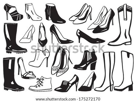 Line Art Shoes : Women shoes boots icon set stock vector hd royalty free