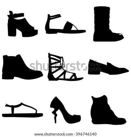 Women shoes vector set on white background. Shoes vector collection. Shoes icon set. Isolated women shoes. Shoes silhouettes. Black and white women shoes group.Shoes vector symbols.Girl fashion shoes. - stock vector